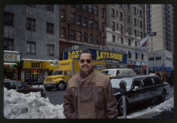 Steve Berrios in 1994, standing at the corner of Broadway and 52nd Street in New York City, where the original Birdland club once stood