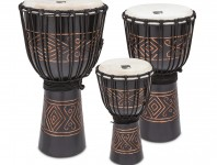 Toca's Street series djembes are now available in a black onyx finish. Hand carved from one piece of environmentally friendly, plantation grown mahogany, the djembe has a kiln-dried shell with twenty coats of teak oil, which protects and preserves the wood....