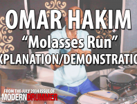 "Omar Hakim's composition ""Molasses Run"" first appeared on record when he joined the legendary fusion band Weather Report for its 1983 album, <em/>Procession</em>. Thirty years later, he revisited the song for his new solo album, <em>We Are One</em>. Here Omar plays it at speed, and then slows it down so we can get a better look at the sticking...."