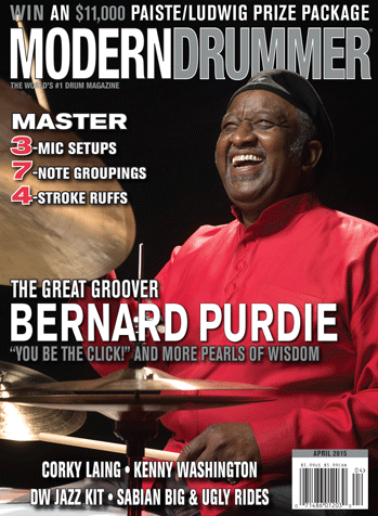 "April 2015 Issue of Modern Drummer featuring Bernard ""Pretty"" Purdie"