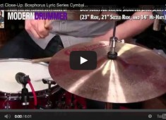 Click here to check out a video demo of Bosphorus's Lyric Series cymbals, which were designed with jazz drummer Ari Hoenig.