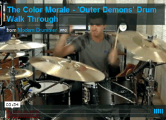 """""""Outer Demons"""" is a very upbeat, alive and electric song for me to play on drums. It was one of the first songs we wrote for <em>Hold On Pain Ends</em> and the whole purpose of it was to make kids get up and jump around, so we centered the writing on those aspects for the drums...."""