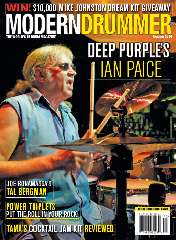 October 2014 Issue of Modern Drummer magazine Featuring Ian Paice of Deep Purple