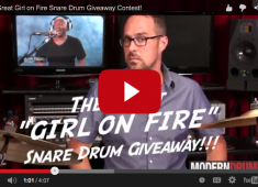 "Wissing is giving away the GMS snare drum he used on ""Girl on Fire"" by Alicia Keys. The snare is featured in the ""Drums on Fire"" video hosted by Modern Drummer, and includes the Aquarian head used on the track. Dylan has signed the drum and head, as has producer/engineer Ken Lewis, who tracked the drums with him for the song...."