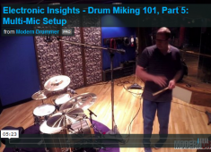 This article looks at how to handle a fully miked kit that includes room mics. This is the setup most often used for a typical recording session. Click to check out a video demo!