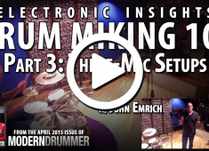 Three microphones are ideal for most drumset work. Even when I'm employing multiple mics, I find myself getting most of the sound from just three, usually a stereo pair over the drums and a single one on the bass drum. Check out a video demo here....