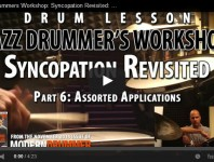 Welcome to the final installment of our series on ways to interpret the classic Ted Reed book Progressive Steps to Syncopation for the Modern Drummer. The following applications can be used with any of the seventy-two repetitive one-measure examples from pages 29, 30, and 33–36; the thirty-two-measure rhythmic melodies from pages 37–44; the accented-8th-notes section that begins on page 46; and the accented-8th-note-triplets section that begins on page 52....