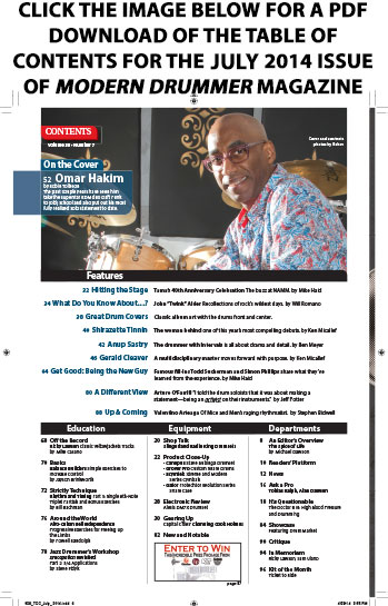 July 2014 Issue of Modern Drummer Table of Contents Featuring Omar Hakim