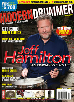 Jeff Hamilton on Feb 2012 Cover of Modern Drummer