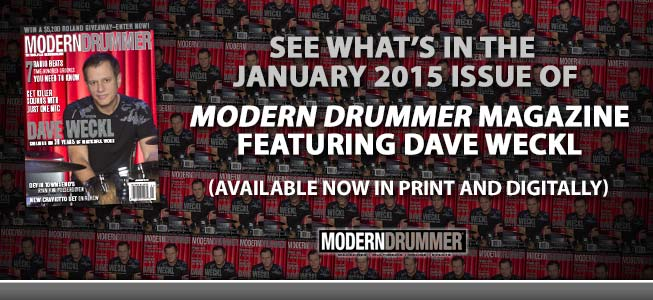 # January 2015 Issue of Modern Drummer featuring Dave Weckl