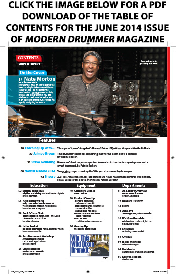 June 2014 Issue of Modern Drummer Table of Contents Featuring Nate Morton